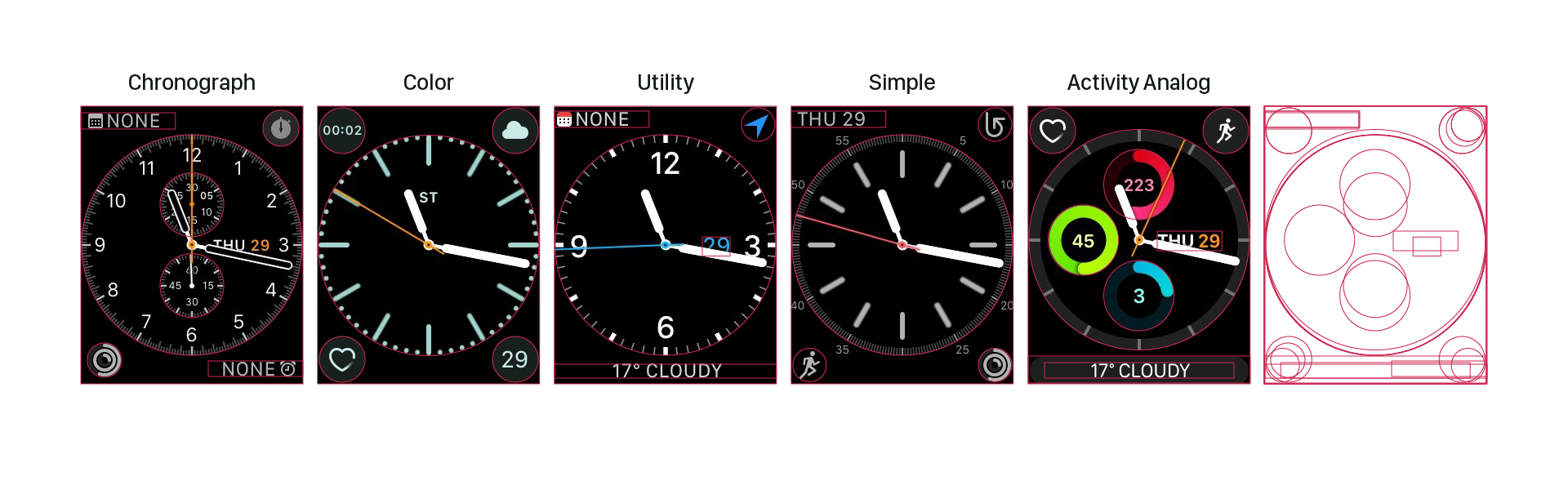 WatchOS analog grid