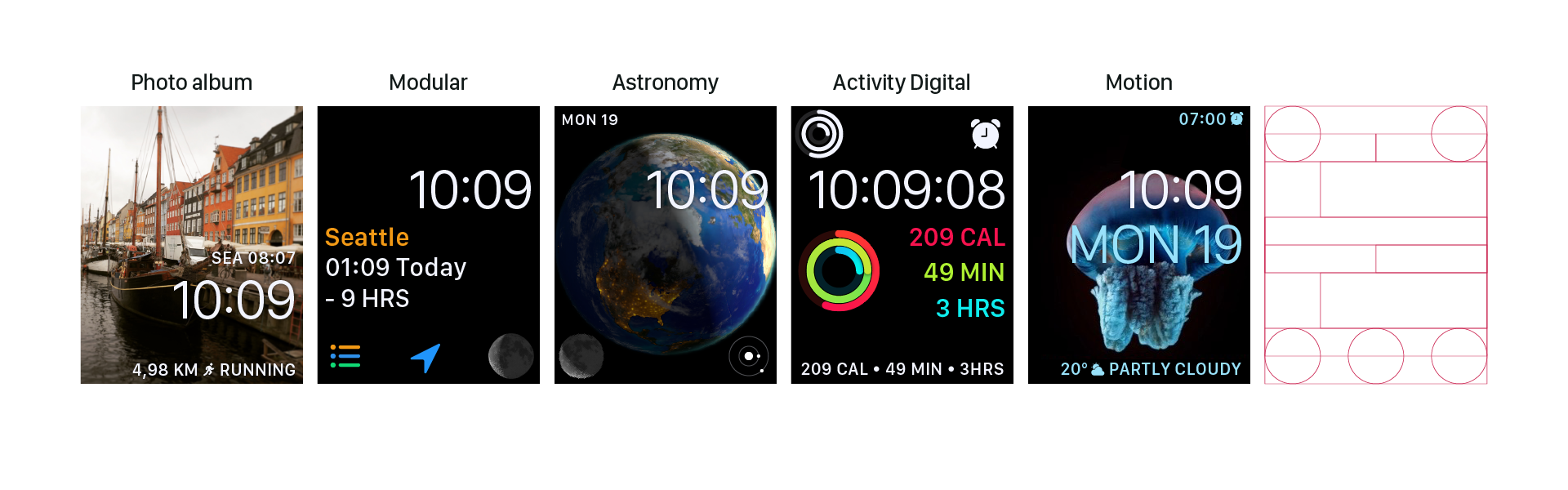 WatchOS digital grid adjusted